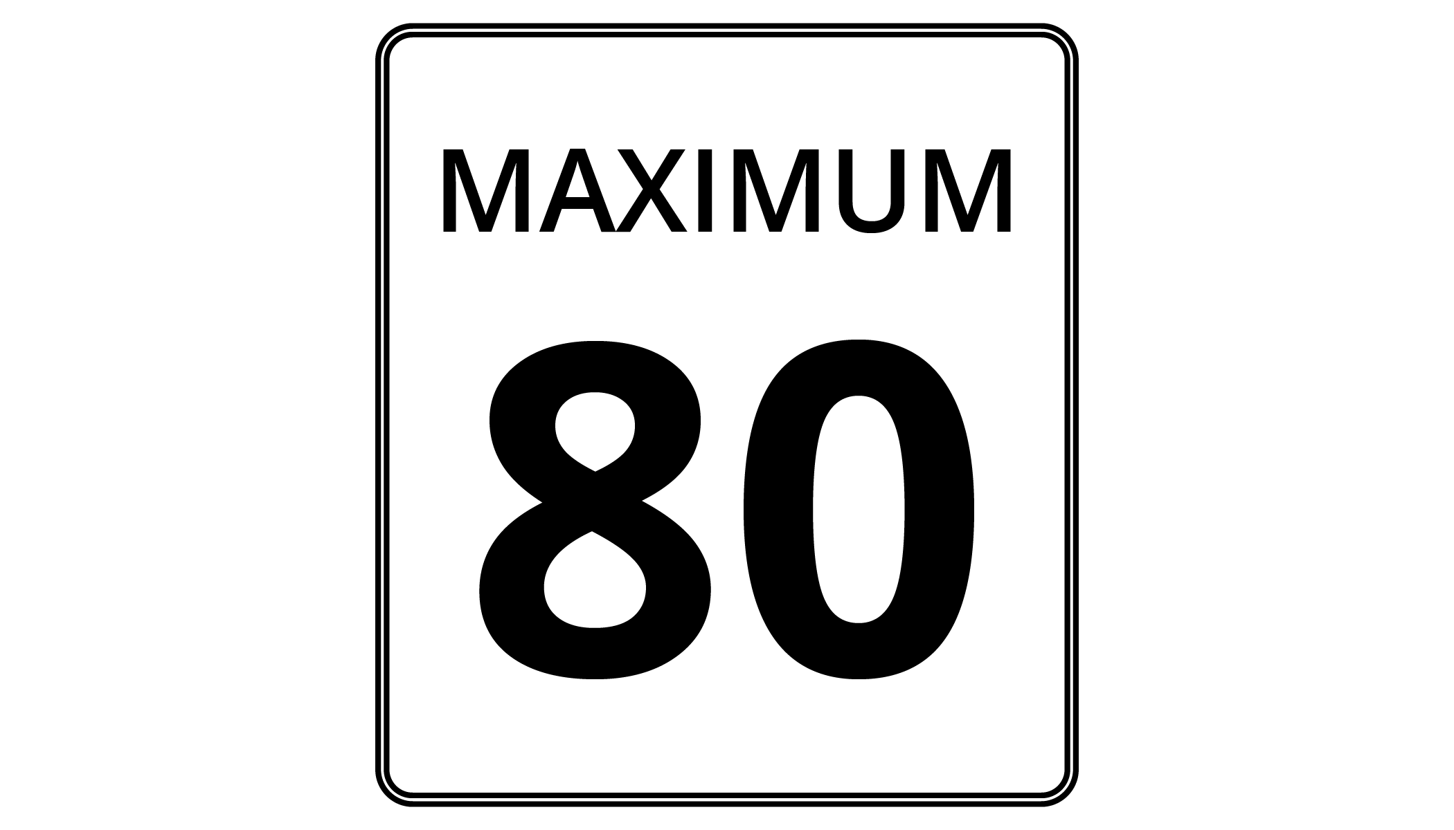 "An image of a speed limit sign labeled ""Maximum 80."""