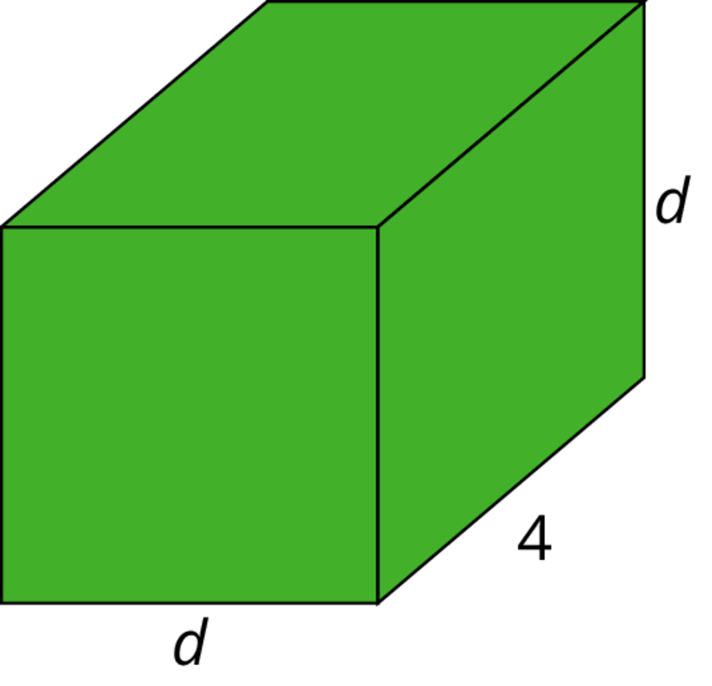 A rectangular prism with a square base. The width of the base is labeled d and the rectangular face has length 4 and height d.