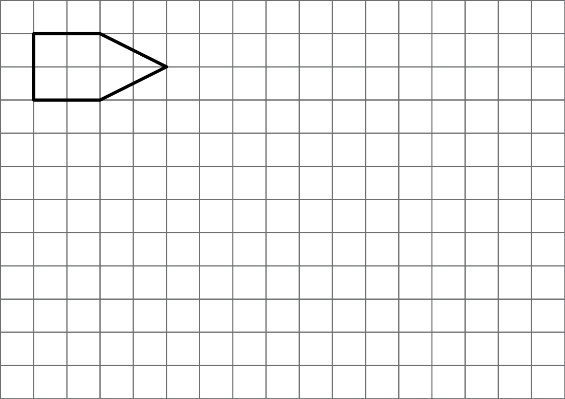 A polygon aligned to a square grid. The polygon is made up of two shapes, joined together on an edge. To the left is a square that has side lengths of 2 units. On the right of the square, is an isosceles triangle with its 2 unit length base joined to the edge of the square. The vertex of the triangle is 2 units to the right.
