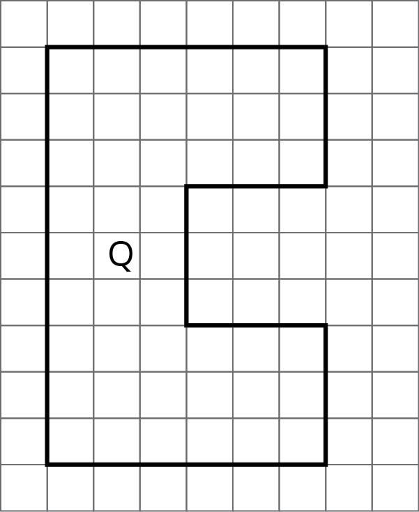 Polygon Q on a grid. Polygon Q has 8 sides. Starting at the bottom left corner, the first side is 9 units up, the second side is 6 units right, the third side is 3 units down, the fourth side is3 units left, the fifth side is 3 units down, the sixth side is 3 units right, the seventh side is 3 units down, and the eighth side is 6 units left.