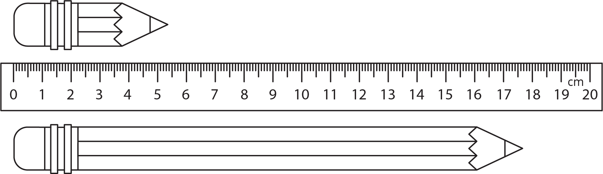 Two pencils, one significantly shorter than the other, are indicated by a ruler with millimeter and centimeter markings. The top pencil's eraser lines up with 0 and the tip ends between 5 point 3 and 5 point 5 centimeters. The bottom pencil's eraser lines up with the 0 and the tip ends between 17 point 6 and 17 point 8 centimeters.