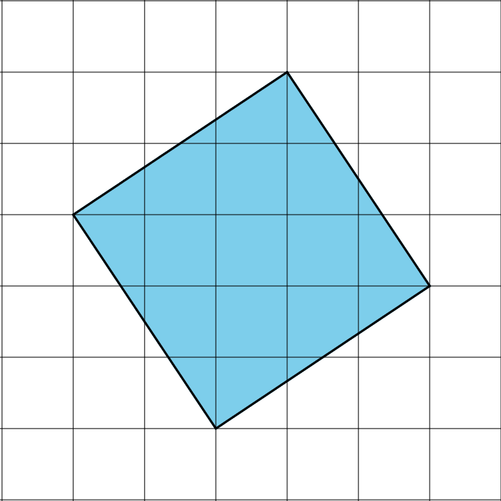 A square, not aligned to the horizontal or vertical gridlines, is on a square grid. The square is drawn such that the first vertex of the square is on the left side. The second vertex is 2 grid squares up and 3 grid squares right from the first vertex. The third vertex is 3 grid squares down and 2 grid squares right from the second vertex. The fourth vertex is 2 grid squares down and 3 grid squares left from the third vertex. The first vertex is 3 grid squares up and 2 grid squares left from the fourth vertex.