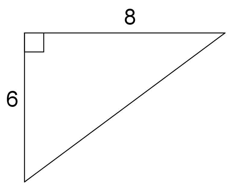 A right triangle with a horizontal side on top and a vertical side on the left. The top side is labeled 8 and the left side is labeled 6.